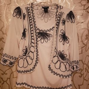 Lauren Michele embroidered top